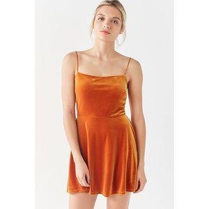 UO Velvet Straight Neck Mini Dress